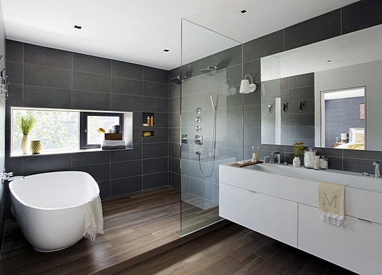 Laconia Master Bath   Textured Modern